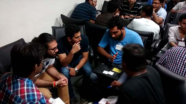 A team brainstorming on their game pitch